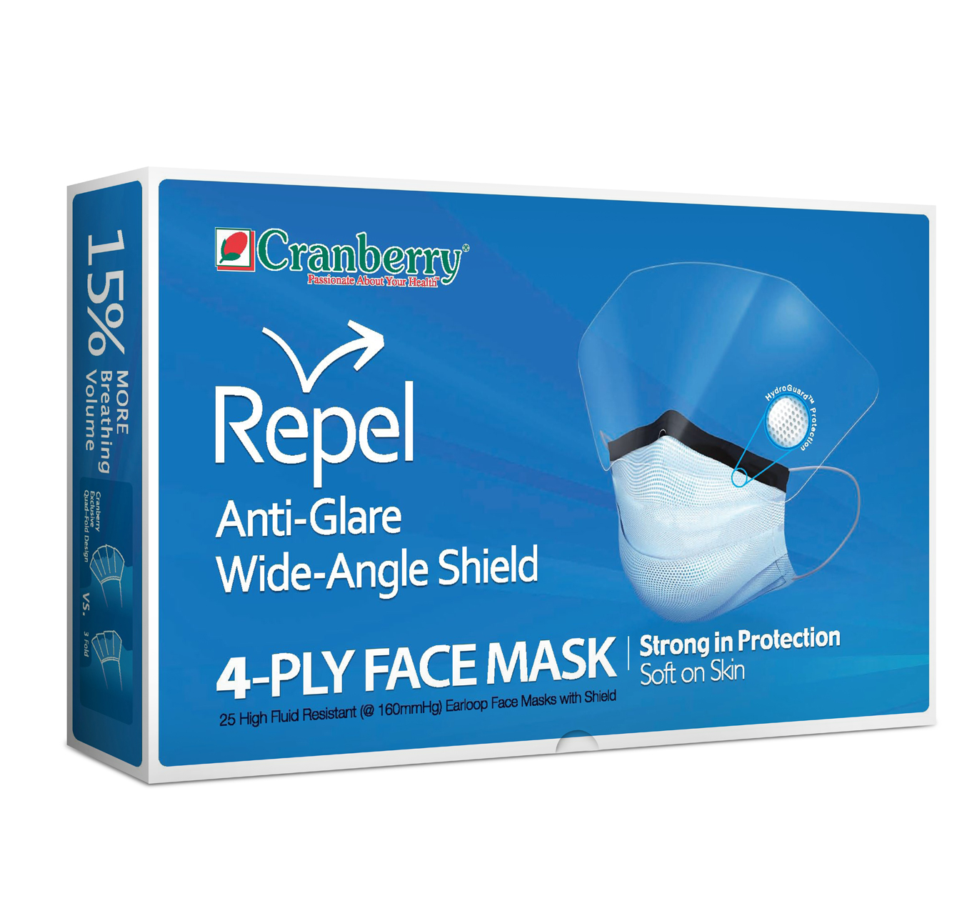 Cranberry Repel Anti-Glare Wide Angle Shield 4-Ply Face Mask-0