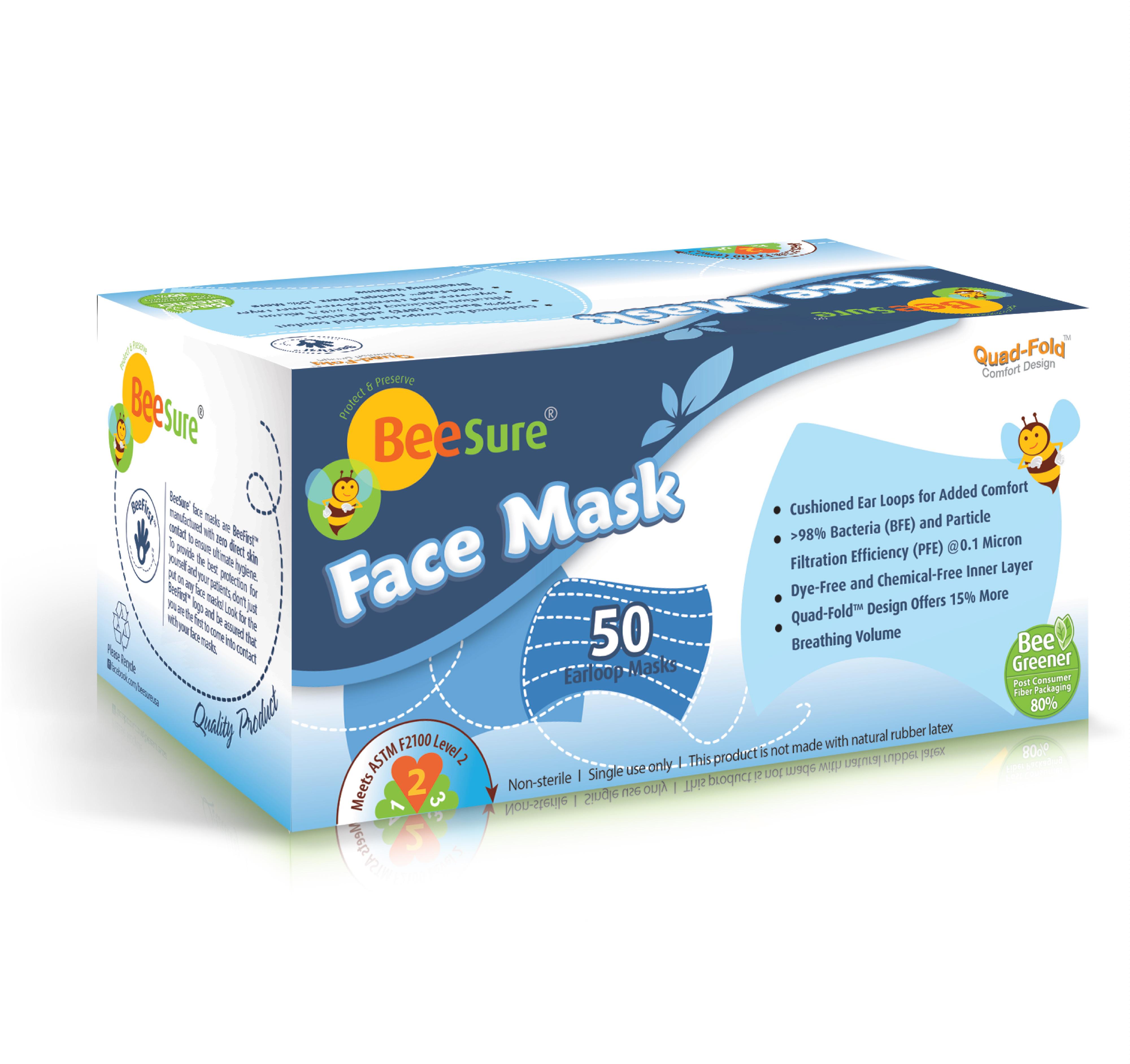 BeeSure 3 Ply Ear Loop Face Mask-0